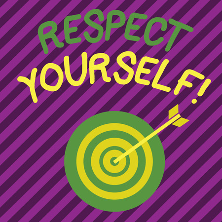 Word writing text Respect Yourself. Business photo showcasing believing that you good and worthy being treated well Color Dart Board in Concentric Style with Arrow Hitting the Center Bulls Eye Stock Photo