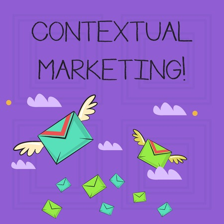 Writing note showing Contextual Marketing. Business concept for online and mobile marketing Behavioural targeting Colorful Airmail Letter Envelopes and Two of Them with Wings Stok Fotoğraf
