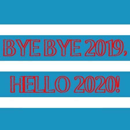 Word writing text Bye Bye 2019 Hello 2020. Business photo showcasing saying goodbye to last year and welcoming another good one Wide Horizontal Stripe Seamless Pattern of Blue and White Color Alternate