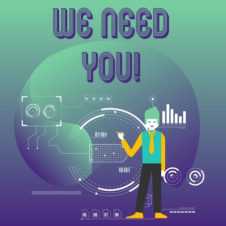 Writing note showing We Need You. Business concept for asking someone to work together for certain job or target Man Holding Pen Pointing to Chart Diagram SEO Process Icons