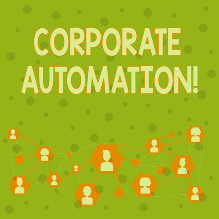 Word writing text Corporate Automation. Business photo showcasing automating key processes through computing technology Online Chat Head Icons with Avatar and Connecting Lines for Networking Idea Stok Fotoğraf