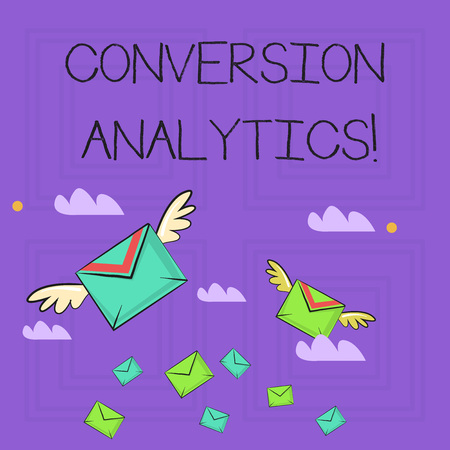 Writing note showing Conversion Analytics. Business concept for action that s is counted when someone interacts with ad Colorful Airmail Letter Envelopes and Two of Them with Wings
