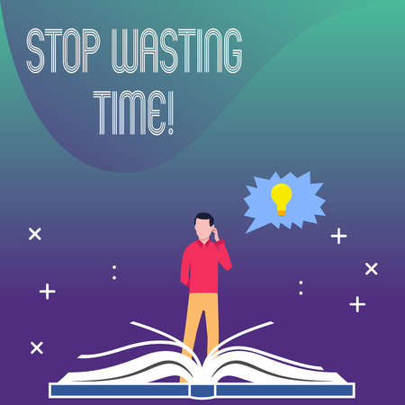 Writing note showing Stop Wasting Time. Business concept for advising demonstrating or group start planning and use it wisely Man Standing Behind Open Book Jagged Speech Bubble with Bulb Stok Fotoğraf