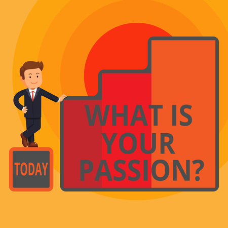 Word writing text What Is Your Passion Question. Business photo showcasing asking about his strong and barely controllable emotion Happy Businessman Presenting Growth and Success in Rising Bar Graph Columns