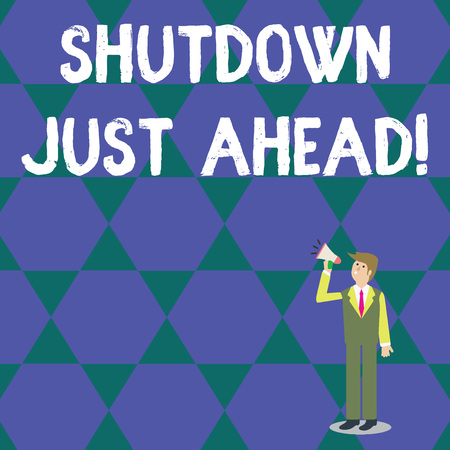 Word writing text Shutdown Just Ahead. Business photo showcasing closing factory business either short time or forever Businessman Looking Up, Holding and Talking on Megaphone with Volume Icon Stok Fotoğraf