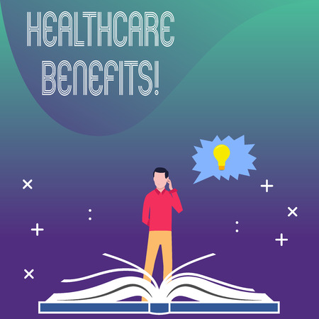 Writing note showing Healthcare Benefits. Business concept for monthly fair market valueprovided to Employee dependents Man Standing Behind Open Book Jagged Speech Bubble with Bulb