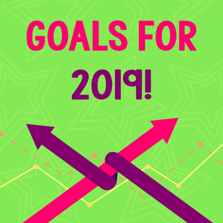 Text sign showing Goals For 2019. Business photo text object of demonstratings ambition or effort aim or desired result Two Arrows where One is Intertwined to the other as Team Up or Competition