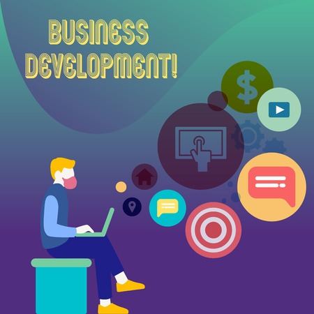 Conceptual hand writing showing Business Development. Concept meaning pursuing strategic opportunities for a certain business Man Sitting with Laptop and SEO Driver Icons on Blank Space Stok Fotoğraf