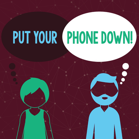 Handwriting text writing Put Your Phone Down. Conceptual photo end telephone connection saying goodbye caller Bearded Man and Woman Faceless Profile with Blank Colorful Thought Bubble Stok Fotoğraf