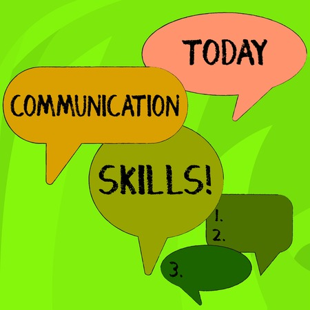 Conceptual hand writing showing Communication Skills. Concept meaning ability to convey information to another effectively Speech Bubble in Different Sizes and Shade Group Discussion Stok Fotoğraf