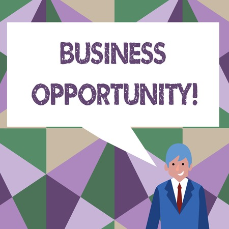 Writing note showing Business Opportunity. Business concept for investment that allows the buyer to begin a business Businessman Smiling and Talking Blank Color Speech Bubble Stok Fotoğraf