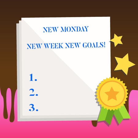 Text sign showing New Monday New Week New Goals. Business photo text goodbye weekend starting fresh goals targets White Blank Sheet of Parchment Paper Stationery with Ribbon Seal Stamp Label 스톡 콘텐츠
