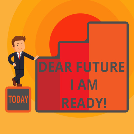 Word writing text Dear Future I Am Ready. Business photo showcasing state action situation being fully prepared Happy Businessman Presenting Growth and Success in Rising Bar Graph Columns