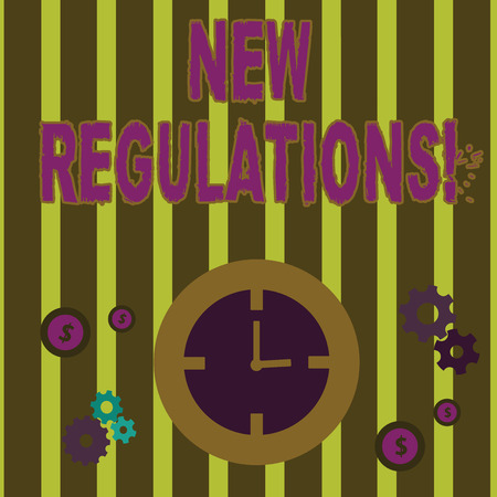 Text sign showing New Regulations. Business photo text rules made government order control something done Time Management Icons of Clock, Cog Wheel Gears and Dollar Currency Sign Imagens