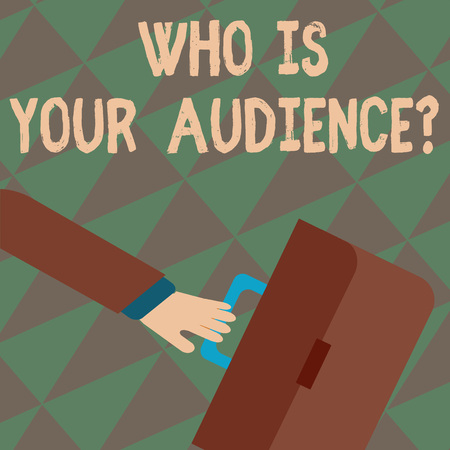 Text sign showing Who Is Your Audience Question. Business photo showcasing who is watching or listening to it Rushing Businessman Arm Swayed Farther Back and Hand Holding Color Briefcase Stok Fotoğraf