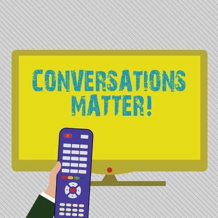 Text sign showing Conversations Matter. Business photo text generate new and meaningful knowledge Positive action Hand Holding Computer Remote Control infront of Blank Wide Color PC Screen