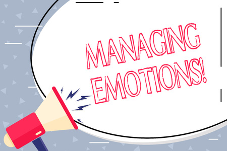 Text sign showing Managing Emotions. Business photo showcasing ability be open to feelings and modulate them in oneself Blank White Huge Oval Shape Sticker and Megaphone Shouting with Volume Icon 写真素材