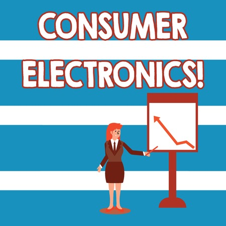Text sign showing Consumer Electronics. Business photo text consumers for daily and noncommercial purposes Businesswoman Holding Stick Pointing to Chart of Arrow Upward on Whiteboard
