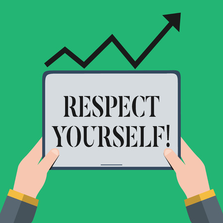 Text sign showing Respect Yourself. Business photo showcasing believing that you good and worthy being treated well Hand Holding Blank Screen Tablet under Black Progressive Arrow Going Upward Stock Photo