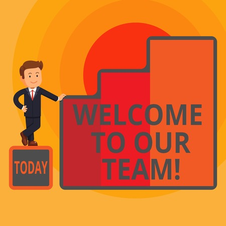 Word writing text Welcome To Our Team. Business photo showcasing introducing another demonstrating to your team mates Happy Businessman Presenting Growth and Success in Rising Bar Graph Columns