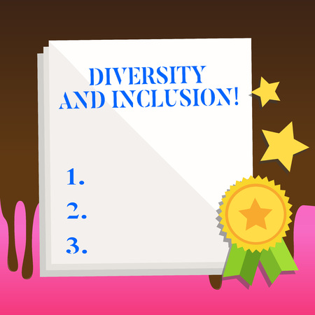Text sign showing Diversity And Inclusion. Business photo text range huanalysis difference includes race ethnicity gender White Blank Sheet of Parchment Paper Stationery with Ribbon Seal Stamp Label 스톡 콘텐츠