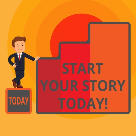 Word writing text Start Your Story Today. Business photo showcasing work hard on yourself and begin from this moment Happy Businessman Presenting Growth and Success in Rising Bar Graph Columns