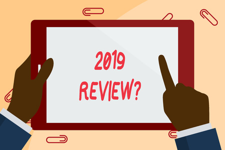 Writing note showing 2019 Review Question. Business concept for remembering past year events main actions or good shows Businessman Hand Holding and Pointing Colorful Tablet Screen 스톡 콘텐츠
