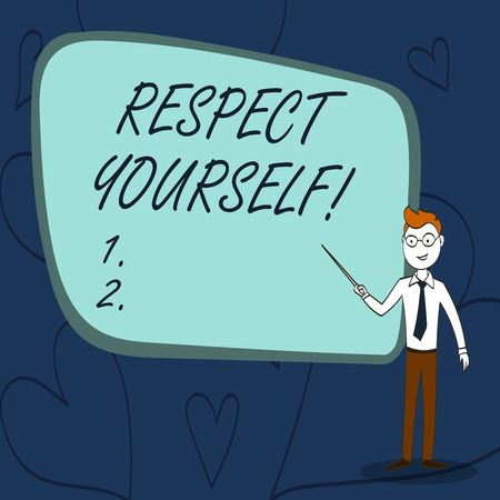 Text sign showing Respect Yourself. Business photo text believing that you good and worthy being treated well Confident Man in Tie, Eyeglasses and Stick Pointing to Blank Colorful Board 스톡 콘텐츠