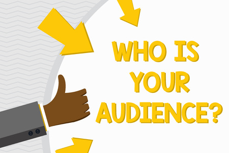 Conceptual hand writing showing Who Is Your Audience Question. Concept meaning who is watching or listening to it Hand Gesturing Thumbs Up Holding on Round Shape with Arrows Stok Fotoğraf