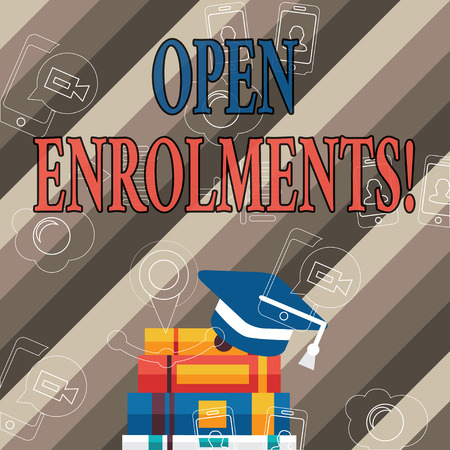 Handwriting text Open Enrolments. Conceptual photo when employees may make changes to elected fringe benefit Graduation Cap with Tassel Resting on Top of Stack of Colorful Thick Books Stock fotó