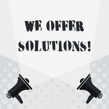 Text sign showing We Offer Solutions. Business photo text way to solve problem or deal with difficult situation Blank Double Spotlight Crisscrossing Upward from Two Megaphones on the Floor 写真素材