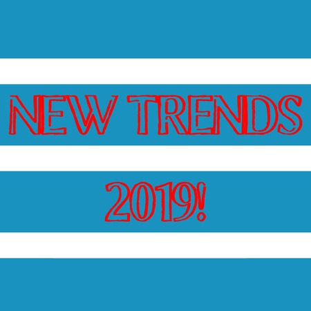 Word writing text New Trends 2019. Business photo showcasing general direction in which something is developing Wide Horizontal Stripe Seamless Pattern of Blue and White Color Alternate