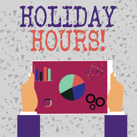 Word writing text Holiday Hours. Business photo showcasing Overtime work on for employees under flexible work schedules Hands Holding Tablet with Search Engine Optimization Driver Icons on Screen
