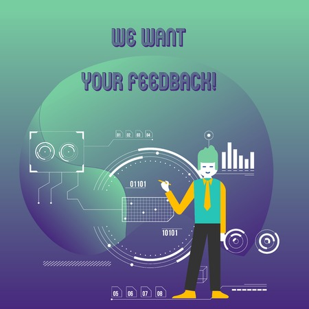 Writing note showing We Want Your Feedback. Business concept for criticism given someone say can be done for improvement Man Holding Pen Pointing to Chart Diagram SEO Process Icons Imagens