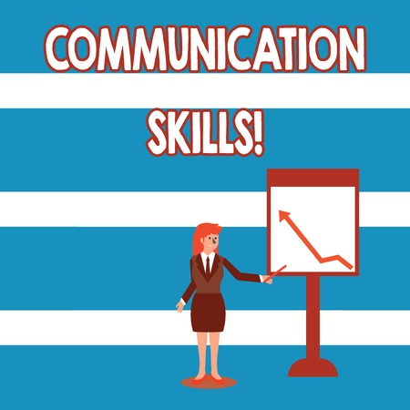Text sign showing Communication Skills. Business photo text ability to convey information to another effectively Businesswoman Holding Stick Pointing to Chart of Arrow Upward on Whiteboard