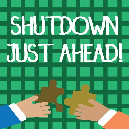 Conceptual hand writing showing Shutdown Just Ahead. Concept meaning closing factory business either short time or forever Hands Holding Jigsaw Puzzle Pieces about Interlock the Tiles Stockfoto