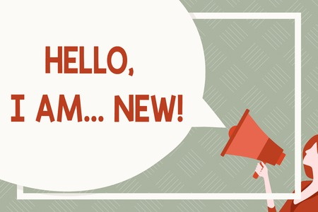 Text sign showing Hello I Am New. Business photo text used greeting or begin telephone conversation Huge Blank Speech Bubble Round Shape. Slim Woman Holding Colorful Megaphone Banco de Imagens