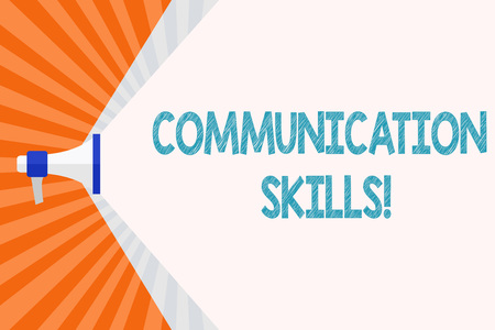 Text sign showing Communication Skills. Business photo text ability to convey information to another effectively Megaphone Extending the Capacity of Volume Range thru Blank Space Wide Beam