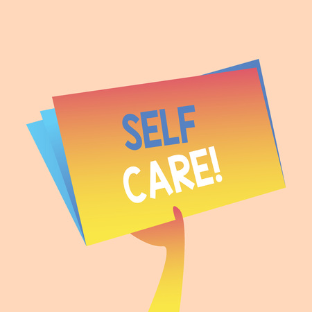 Handwriting text writing Self Care. Conceptual photo practice of taking action preserve or improve ones own health Hand Holding and Raising Blank Space Colorful File Folder with Sheet Inside