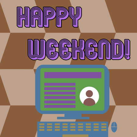 Writing note showing Happy Weekend. Business concept for something nice has happened or they feel satisfied with life Computer Mounted on Stand with Online Profile Data on Screen