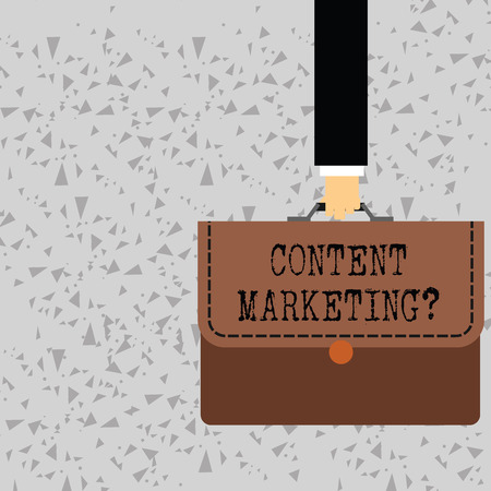 Word writing text Content Marketing Question. Business photo showcasing involves creation and sharing of online material Businessman Hand Carrying Colorful Briefcase Portfolio with Stitch Applique Фото со стока