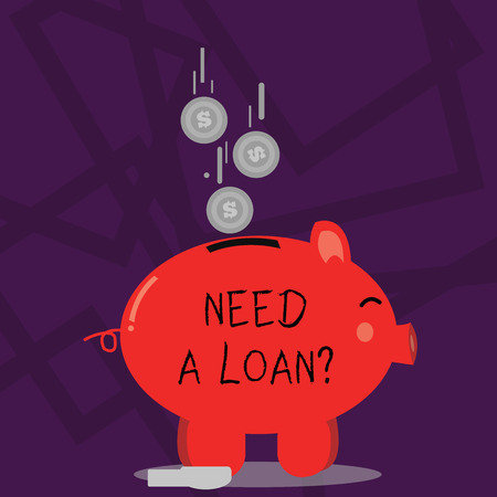 Writing note showing Need A Loan Question. Business concept for asking he need money expected paid back with interest Piggy Bank Sideview and Dollar Coins Falling Down to Slit