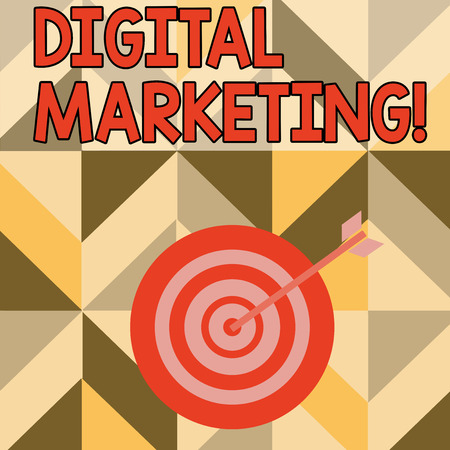 Word writing text Digital Marketing. Business photo showcasing market products or services using technologies on Internet Color Dart Board in Concentric Style with Arrow Hitting the Center Bulls Eye