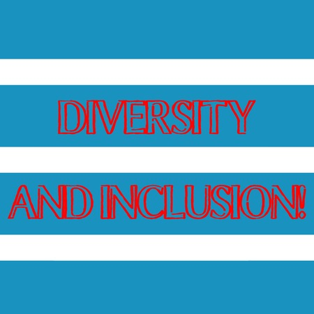 Word writing text Diversity And Inclusion. Business photo showcasing range huanalysis difference includes race ethnicity gender Wide Horizontal Stripe Seamless Pattern of Blue and White Color Alternate