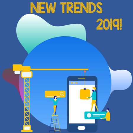 Writing note showing New Trends 2019. Business concept for general direction in which something is developing Staff Working Together for Common Target Goal with SEO Process Icons