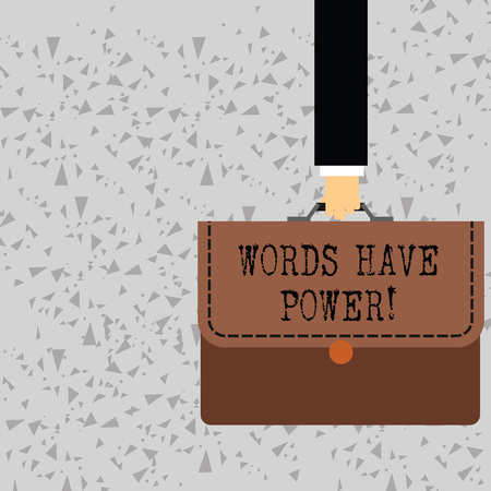 Word writing text Words Have Power. Business photo showcasing as they has ability to help heal hurt or harm someone Businessman Hand Carrying Colorful Briefcase Portfolio with Stitch Applique