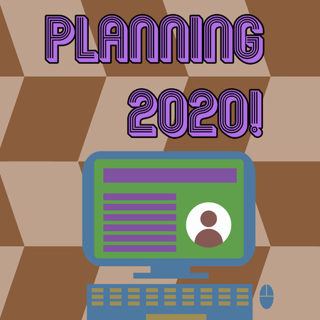 Writing note showing Planning 2020. Business concept for process of making plans for something next year Computer Mounted on Stand with Online Profile Data on Screen