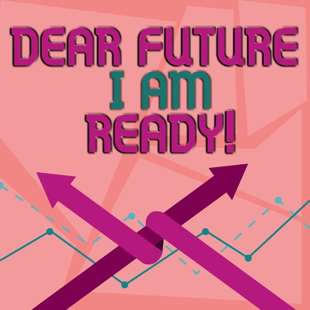 Word writing text Dear Future I Am Ready. Business photo showcasing state action situation being fully prepared Two Arrows where One is Intertwined to the other as Team Up or Competition