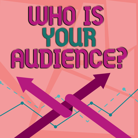 Word writing text Who Is Your Audience Question. Business photo showcasing who is watching or listening to it Two Arrows where One is Intertwined to the other as Team Up or Competition