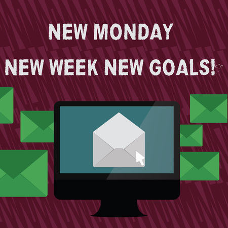 Text sign showing New Monday New Week New Goals. Business photo text goodbye weekend starting fresh goals targets Open Color Envelope inside Computer Screen. Letter Casing Surrounds the PC